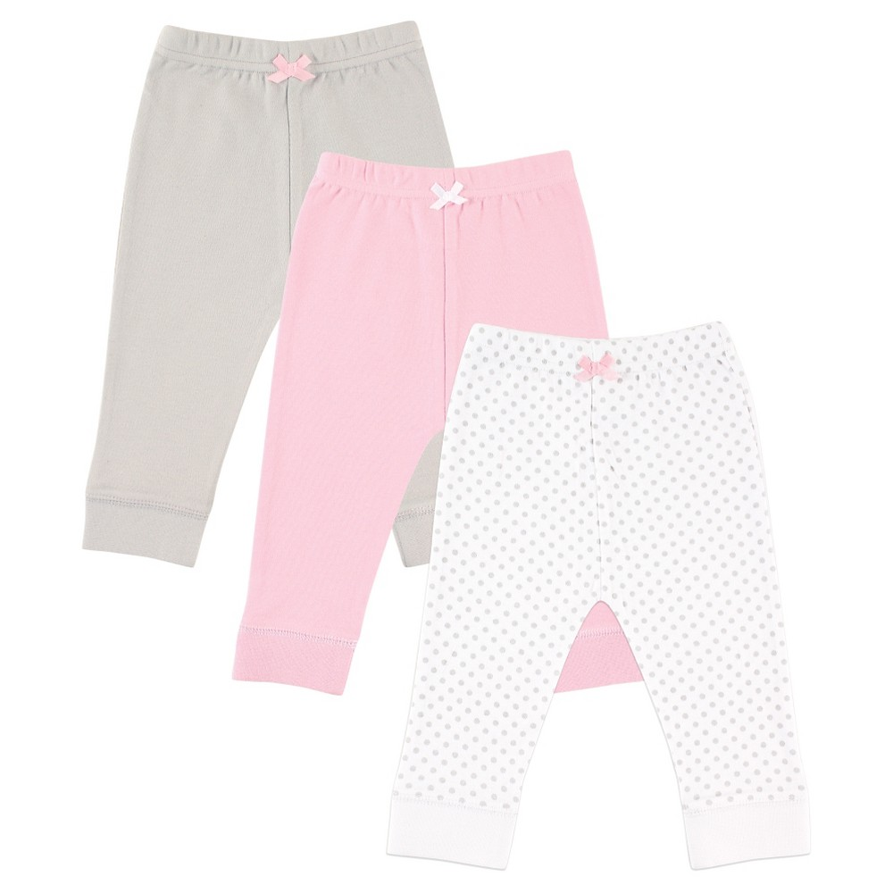 Luvable Friends Baby 3 Pack Tapered Ankle Pant – Grey Dot 24M, Infant Girl's, Size: 24 M, Gray Pink