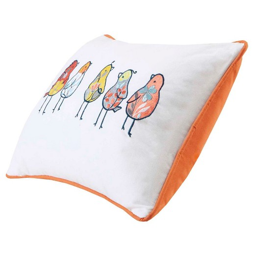 Yellow Chickas Birds Embroidered Cotton Oblong Throw Pillow - (14x20
