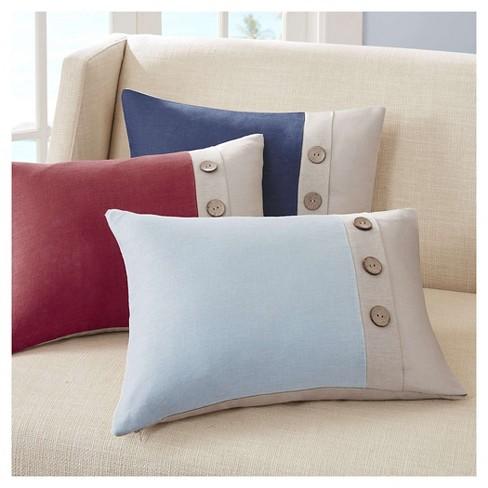 Red/Linen 3 Button Oblong Throw Pillow (14
