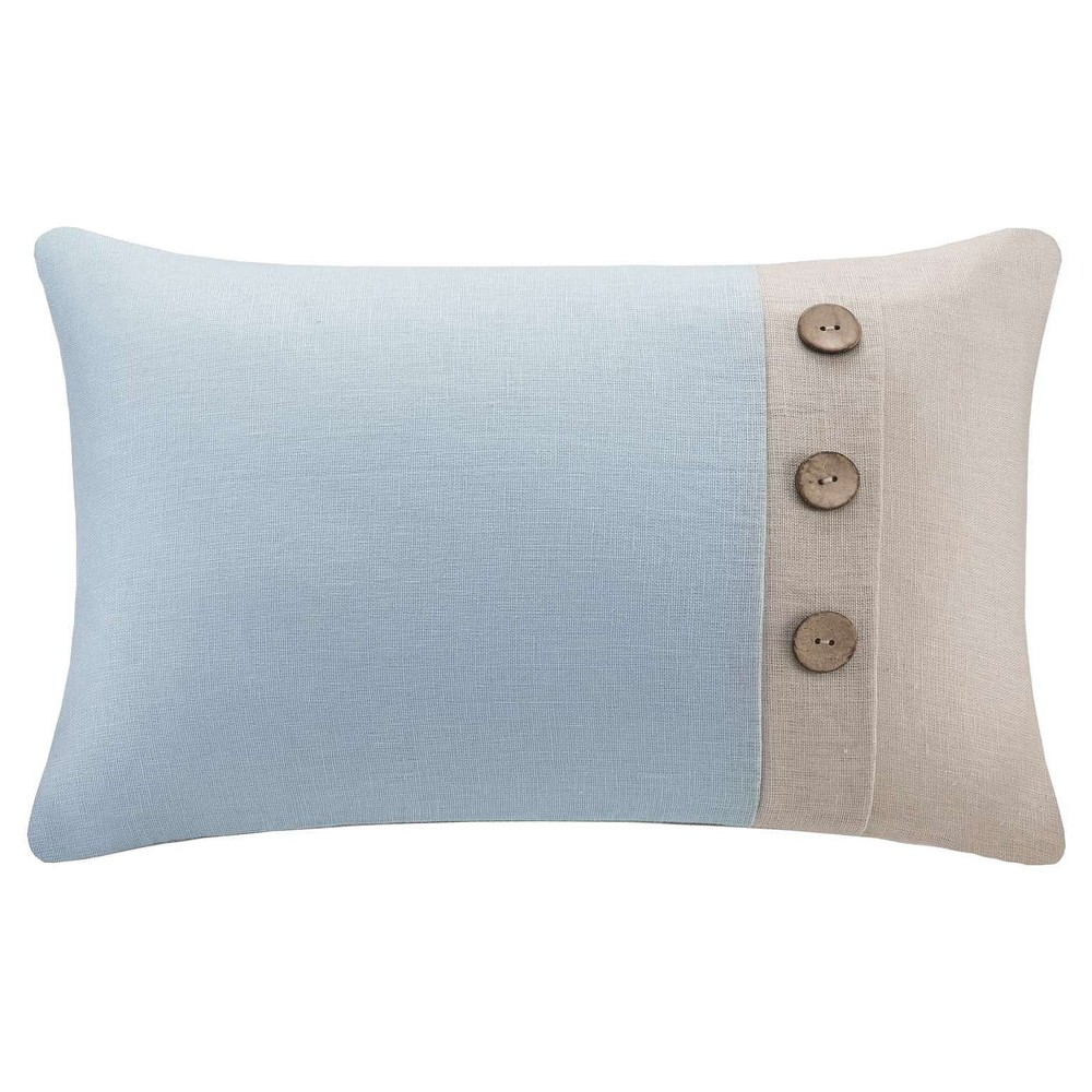 """Aqua/Linen (Blue/Linen) Linen 3 Button Oblong Throw Pillow (14""""""""x20"""""""")"""