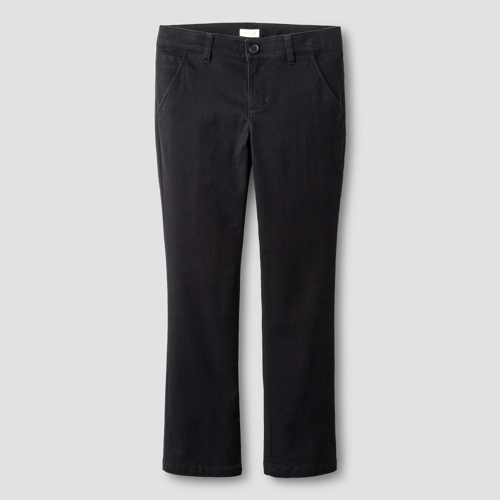 Girls Bootcut Twill Pants - Cat & Jack Black 6X