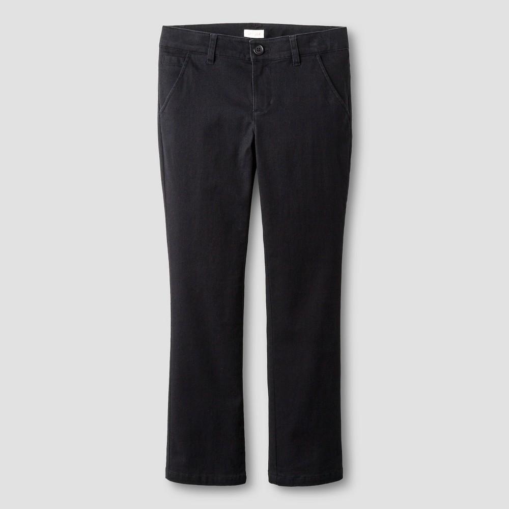 Girls Bootcut Twill Pants - Cat & Jack Black 16
