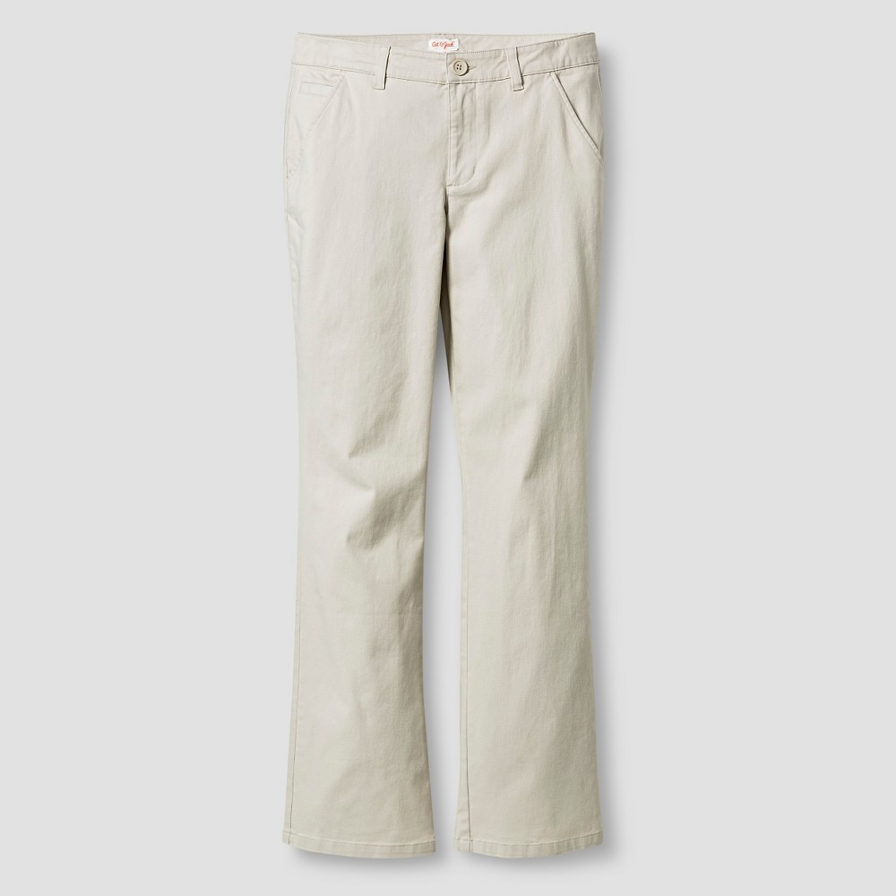Girls Bootcut Twill Pants - Cat & Jack Oyster 4, White