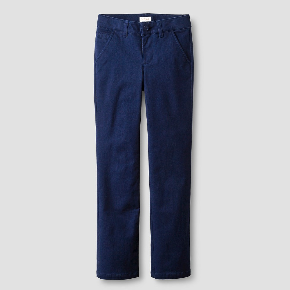Girls Bootcut Twill Pants - Cat & Jack Navy 6X Slim, Blue