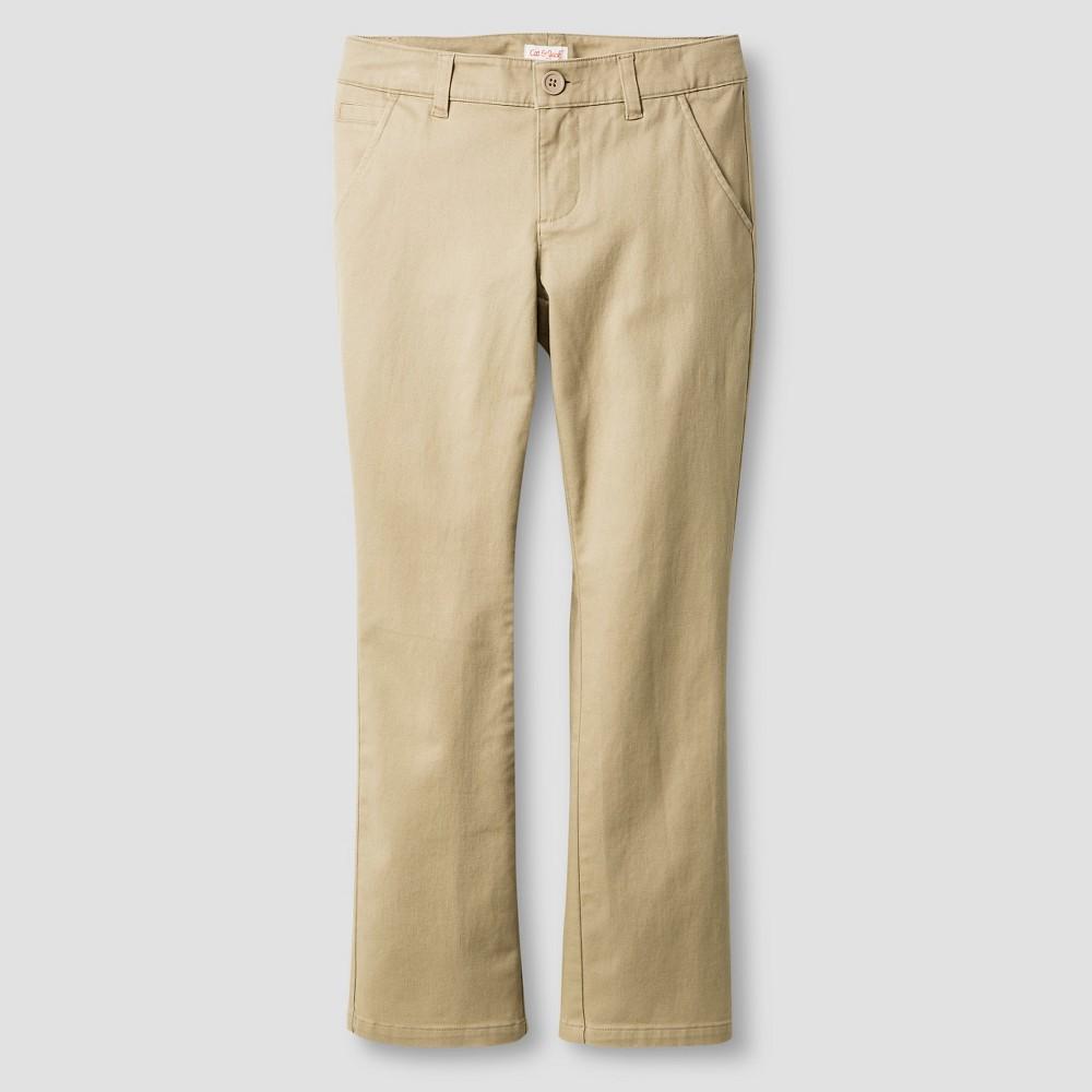 Girls Bootcut Twill Pants - Cat & Jack Brown 5 Slim