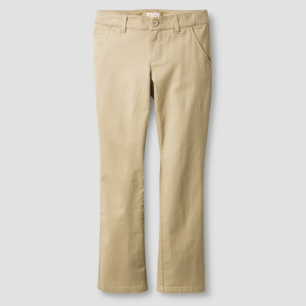 Girls Bootcut Twill Pants - Cat & Jack Brown 14 Slim