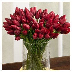 "Red Petite Tulip 9-Piece Bunch-14"" Long - Set of 12 pcs"