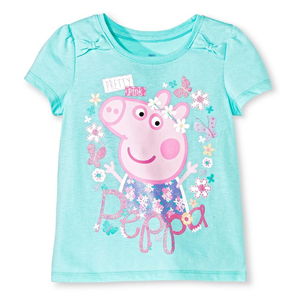 Peppa Pig Toddler Girls Short Sleeve T-Shirt Mint - 5T, Green
