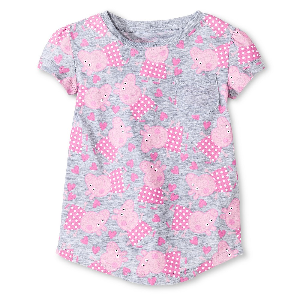 Peppa Pig Toddler Girls' Short Sleeve Rounded T-Shirt Gray - 2T