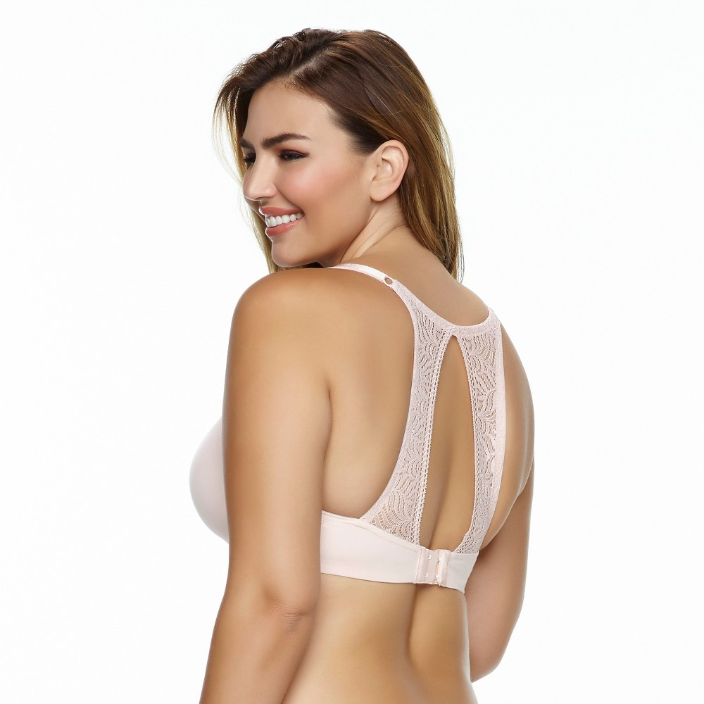 Paramour Womens Carolina Seamless Plunge Contour Bra with Lace T-Back - Sugar Baby 36DD