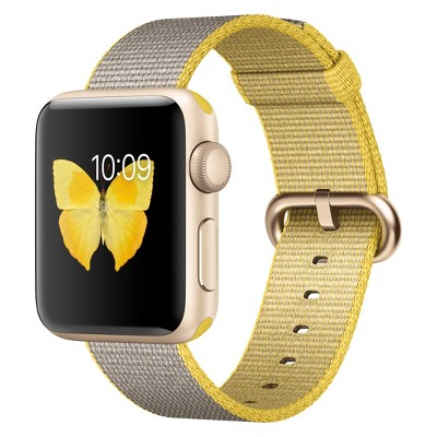 Apple® Watch Series 2 38mm Gold Aluminum Case with Yellow/Light Gray Woven Nylon Band