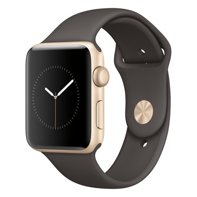 Apple® Watch Series 2 42mm Gold Aluminum Case with Cocoa Sport Band