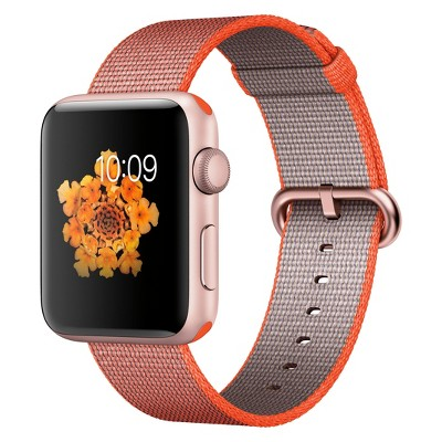 Apple® Watch Series 2 42mm Rose Gold Aluminum Case with Orange/Anthracite Woven Nylon Band