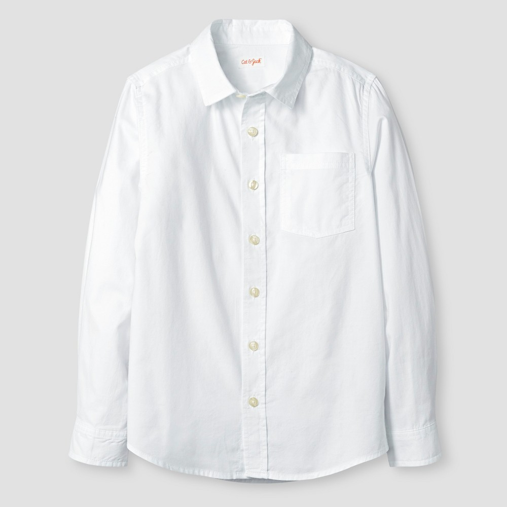 Boys Long Sleeve Button Down Oxford Shirt - Cat & Jack White L Husky