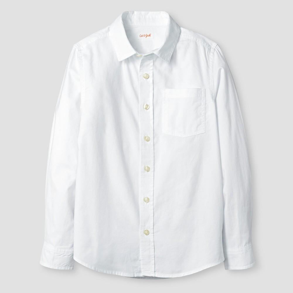 Boys Long Sleeve Button Down Oxford Shirt - Cat & Jack White M Husky