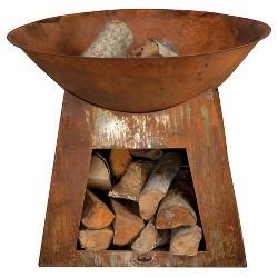 Esschert Design Outdoor Fireplace Fire Bowl with Wood Storage - Rust