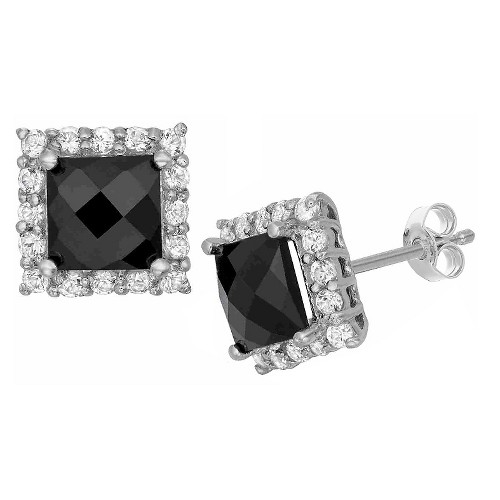 Square-cut Black Onyx Pave Earrings in Sterling Silver, Women's