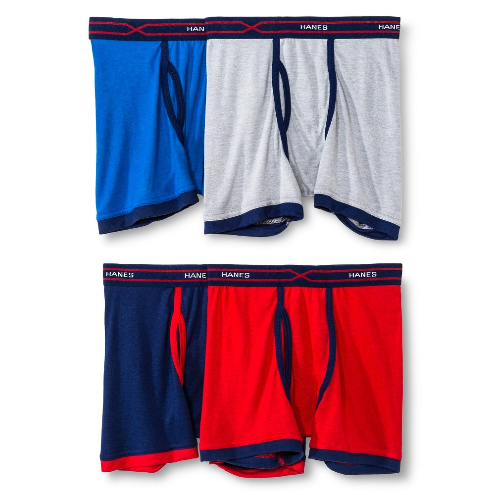 Hanes Red Label Boys 4-Pack Boxer Briefs - Multicolored, Size: Medium