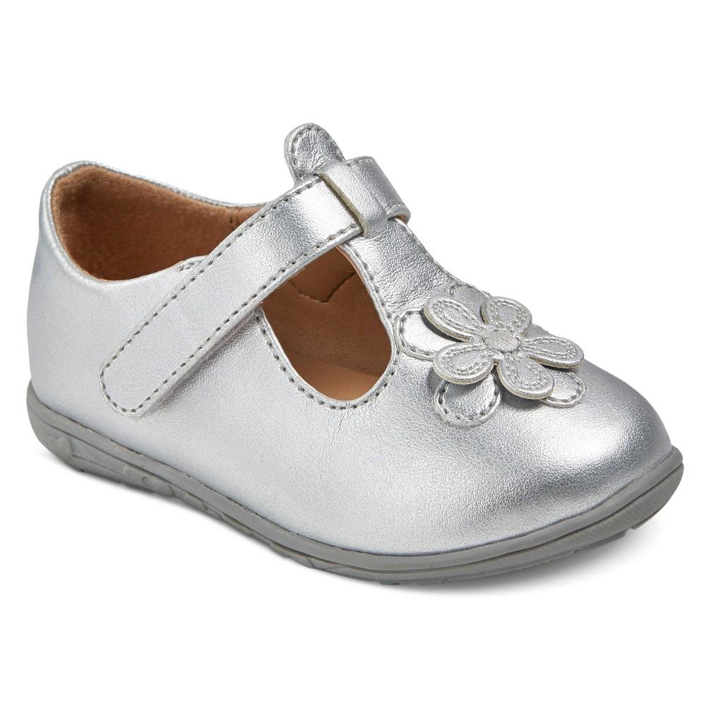 Infant Girls' Genuine Kids from OshKosh Aimee T-Strap Ballet Flats – Silver 2, Infant Girl's