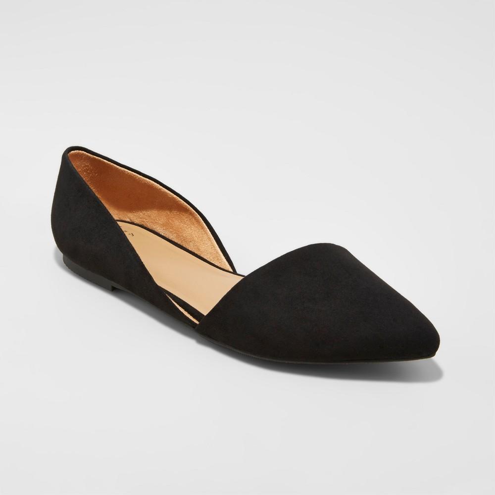 Womens Poppy dOrsay Pointed Toe Ballet Flats - A New Day Black 10