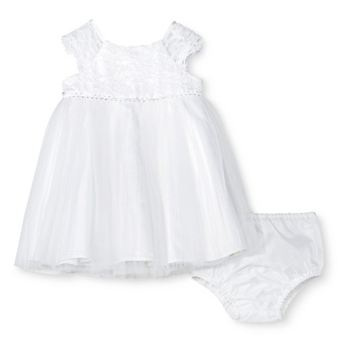 Baby Girls' Mesh Skirt Dress with Lace Cap Sleeve - Tevolio™ White - image 1 of 2