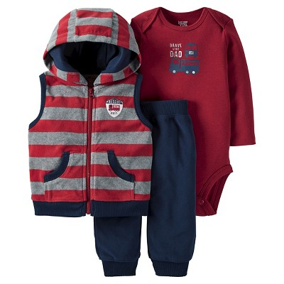 Just One You™ Made by Carter's® Baby Boys' 3pc Hooded Vest Set - Burgundy/Navy 9M