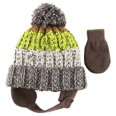 Boys' Tri-Color Hat with Pom/Mitten Set Cat & Jack™ - Olive Green Baby
