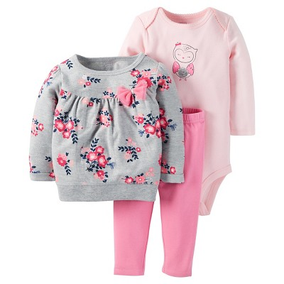 Just One You™ Made by Carter's® Baby Girls' 3pc Floral Top/Solid Legging Set - Gray/Pink NB