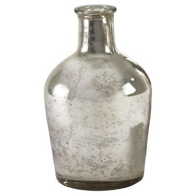 Silver Mercury Glass Bottle - 8 x4