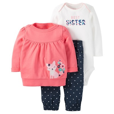 Just One You™ Made by Carter's® Baby Girls' 3pc Fox Top/Dot Legging Set - Pink/Chambray NB