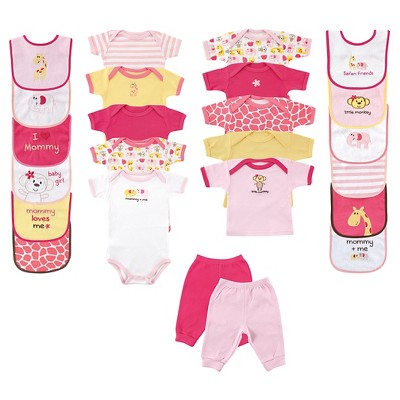 Luvable Friends Baby Girls' 24 Piece Deluxe Gift Set - Safari
