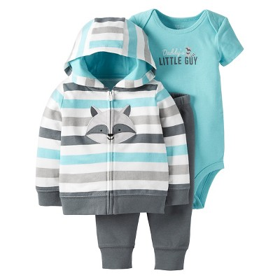 Just One You™ Made by Carter's® Baby Boys' 3pc Multi Stripe Raccoon Set - Teal/Gray - 3M