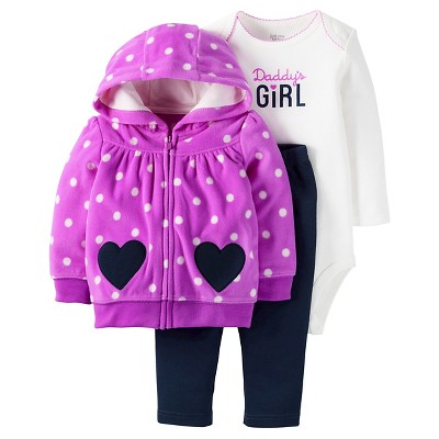 Just One You™ Made by Carter's® Baby Girls' 3pc Daddy's Girl Set - Purple/Navy NB