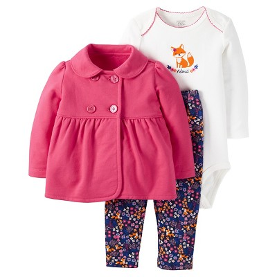 Just One You™ Made by Carter's® Baby Girls' 3pc Fox Set - Pink/Floral 9M