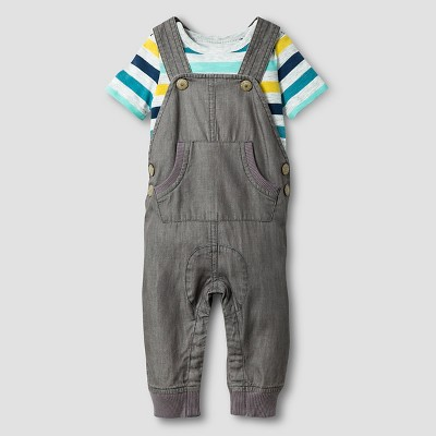 Baby Boys' Striped Bodysuit and Overall Baby Cat & Jack™ - Gray 6-9M
