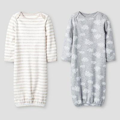 Baby 2 Pack Organic Sleep Gowns Cat & Jack™ - White/Heather Gray