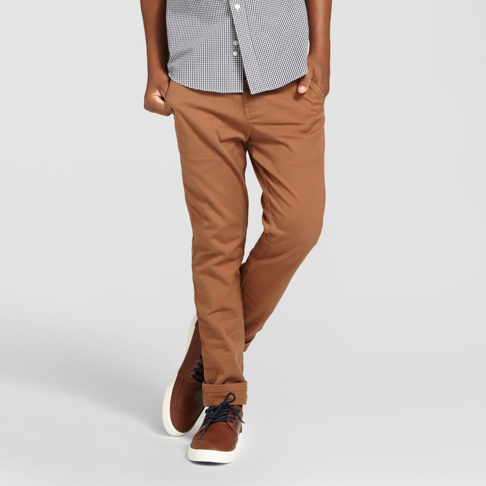 Boys Chino Pants - Cat & Jack Toasted Brown 8 Husky, Dark Brown