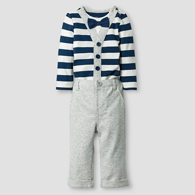 Baby Boys' Little Man Bowtie Striped Bodysuit and Pant Baby Cat & Jack™ - Blue/Grey 3-6M