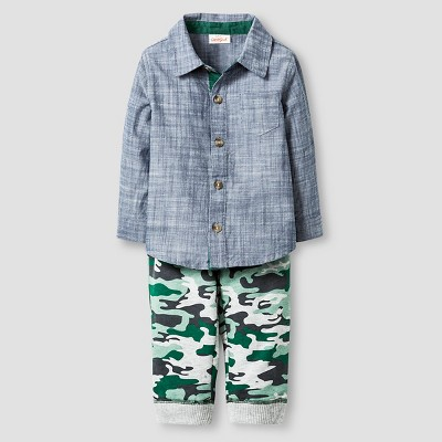 Baby Boys' Faux Chambray Shirt and Camo Pant Baby Cat & Jack™ - Blue/Camo 6-9M
