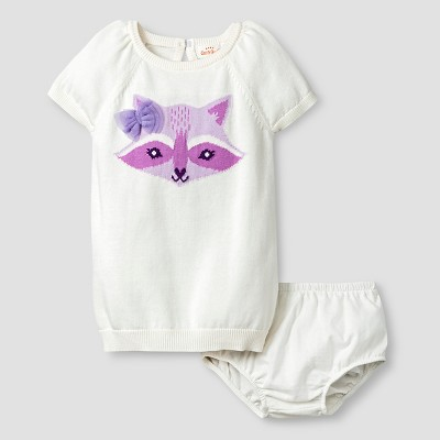 Baby Girls' Fox Raglan Sweater Cat & Jack™ - Almond Cream 3-6M