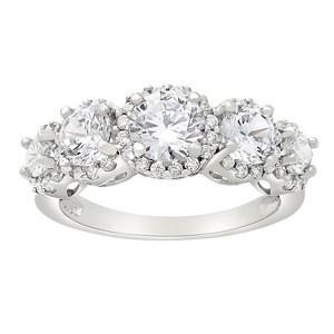 Tiara 10k White Gold 5-stone Round-cut Halo CZ Ring - (6), Women
