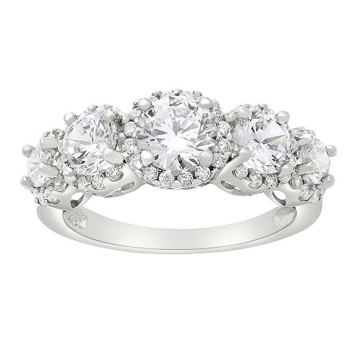 Tiara 10k White Gold 5-stone Round-cut Halo CZ Ring - (6), Women's