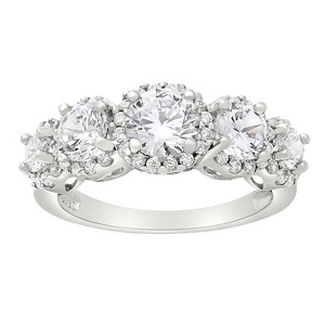 Tiara 10k White Gold 5-stone Round-cut Halo CZ Ring - (7), Women