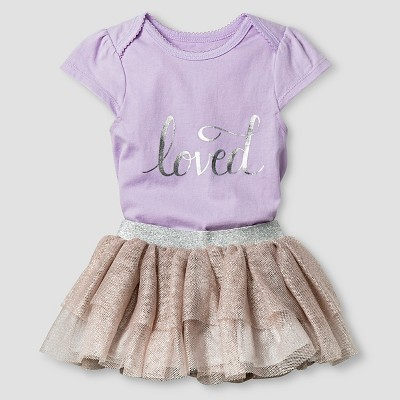 Baby Girls' Loved Bodysuit and Tutu Skirt Baby Cat & Jack™ - Lilac 0-3M