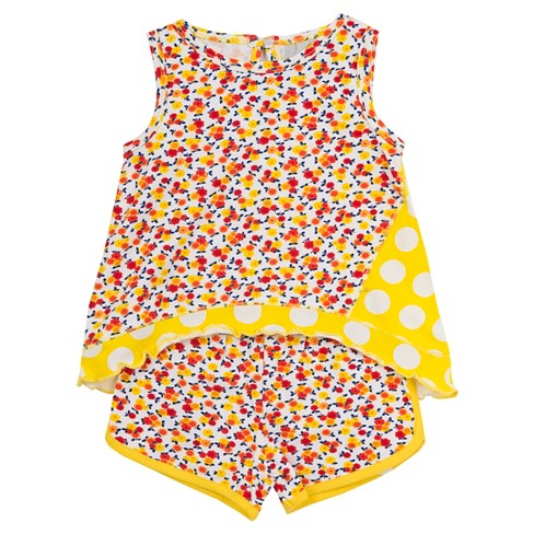 Rare, Too! Baby Girls' Top with Printed Shorts - Yellow 12M - image 1 of 1