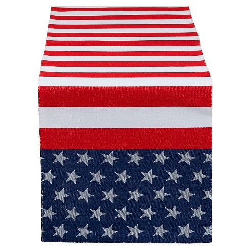 "54""x14"" Jacquard Flag Stripe Table Runner Red / Blue - Design Imports - image 1 of 1"