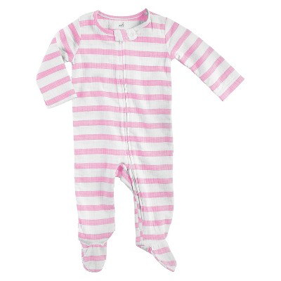Aden + Anais® Baby Girls' Long-Sleeve Stripe Coverall - Pink/White 0-3M