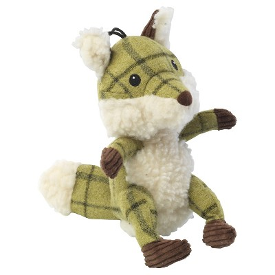 House of Paws Green Tweed Plush Fox Dog Toy
