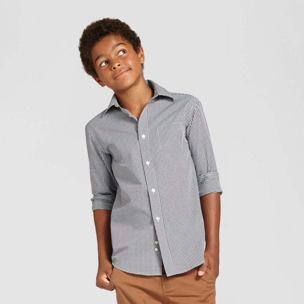 Boys Button Down Shirt - Cat & Jack Black Check L, Black White