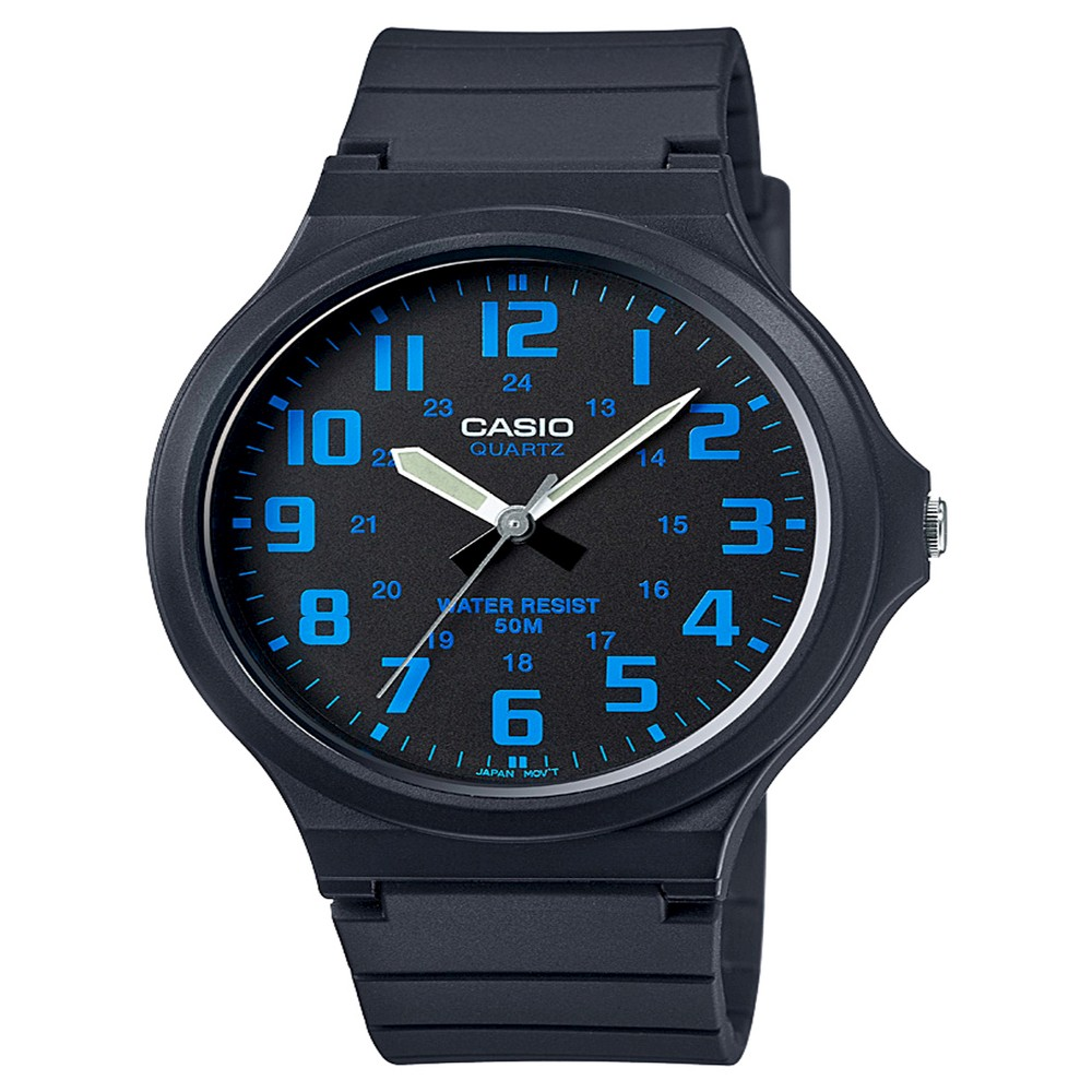 Men's Casio Super Easy Reader Watch - Black/Blue (MW240-2BV)